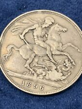 1896 Great Britain Silver Crown Queen Victoria & Dragonslayer KN#783 .925 Sil.