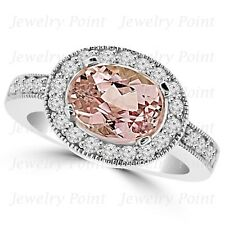 Oval Peach Pink Morganite Diamond Halo Engagement East-West Ring 14k White Gold