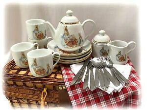 2002 Peter Rabbit Full Size Tea Set in Wicker Picnic Basket Reutter Porcelain