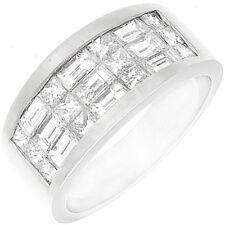 1.50 Carat Princess & Baguette Cut Diamond Wedding Band 18k White Gold