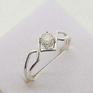 $999 14K White gold plate/925 Genuine .65ctw H-SI Diamond Engagement Ring SZ 6.5