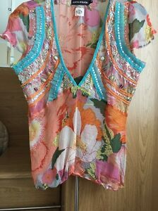 Stunning ANTIK BATIK Floral sequinned / Beaded Silk Top Size M ( 10)