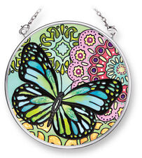 "Butterflies Sun Catcher Blue Green AMIA 3.5"" Round Hand Painted Graphic Wings"