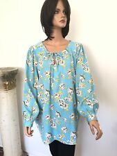 Woman Within Tunic L Designer Fashion Floral India Blue Gift