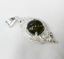 powerful pendant Naga Eye Twist Nok Phra Gow gem lucky Thai Amulet silver 925
