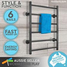 Electric Heated Towel Rail Rack 6 Rungs Bathroom Warmer Stainless Steel Bar