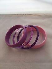 Vintage Lucite Bangle Bracelets Purple Violet Pink 1960's