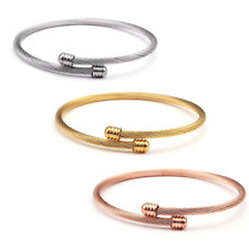 DG Classic Thin Cable Cuff Bracelet Stainless Steel Gold Silver Plated Women Men
