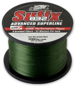 Sufix 832 Advanced Superline, Lo-Vis Green, 1200 Yard Spool, Choice of Strength