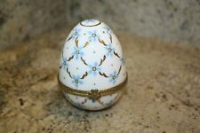 Porcelain Hinged Egg - Hand Painted - White with Light Blue Flowers