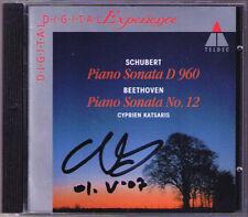 Cyprien Katsaris SIGNED SCHUBERT piano sonata d.960 Beethoven no. 12 Teldec CD