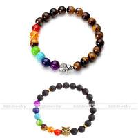 Unisex Alloy Gemstone Healing Bracelet 7 Color Beads Charm Bangle Jewelry Gift