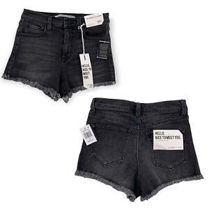 Celebrity Pink Braddock High Rise Short Shorts Black Frayed Hem Juniors 5/27