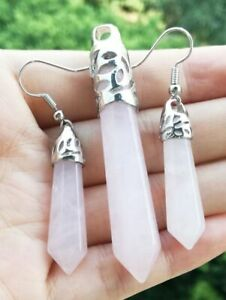 Fashion Rose Quartz stone Hexagon Point beads Amulet Pendant earrings set