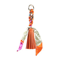 Vegan Leather Handbag Charm Pony Scarf Tassel Accessory Purses Bag Keychain