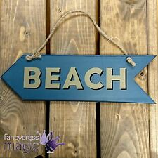 Gisela Graham New Double Sided Wooden Hanging Blue 'Beach' Arrow Sign Decoration