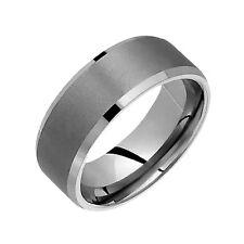 Finish Engagement Ring Size 4 to 14 Titanium Band Comfort Fit 8mm Wide Sandblast