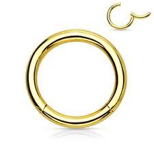 "Segment Hinged Captive Ring Heavy 10 Gauge 1/2"" Gold Plate Body Jewelry"