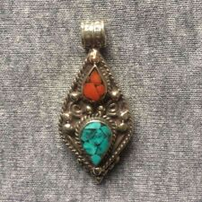 PD-304 Antique Style Nepalese Tibetan White Metal Turquoise Coral Drop Pendant