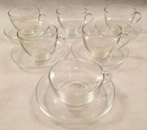 Vintage MCM Set of Six Arcoroc Clear Glass Tea Coffee Cups and Saucers 1970s