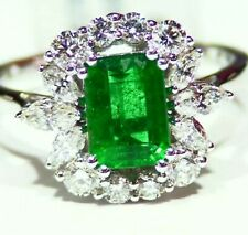 2.31CT 14K Gold Natural Cut Emerald White Diamond Vintage Halo Engagement Ring