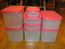 Tupperware Lot of 8 Modular Mates Oval Square  Rectangle Poppy Red