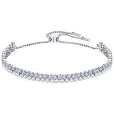 Swarovski Subtle Rhodium Plated Bracelet - Light Blue and Clear Crystals