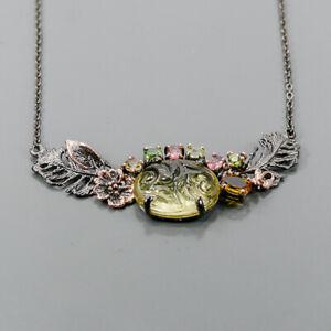 """Vintage Lemon Quartz Necklace 925 Sterling Silver  Length 18.5""""/N06548"""