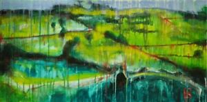 """Modern contemporary abstract landscape painting """"Country Life"""" by David Calleja"""