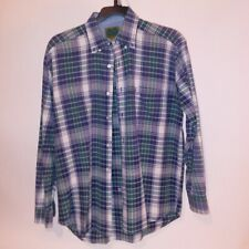 Native Habitat Planet Earth Mens Button Down Shirt Large Long Sleeve Green Blue