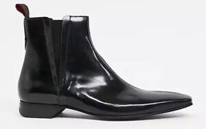 Jeffery West Black Polished Leather Boots Size Uk 7