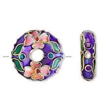 3242 Cloisonne Beads Donut Blue PK4 20mm *UK EBAY SHOP*
