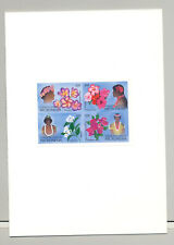 Micronesia #75a Flowers 1v Block of 4 Imperf Proof in Folder