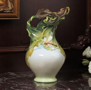 """11.8"""" Modern Art Handmade All-ceramic Underglaze Colour Vine Leaf Dragonfly Vase"""