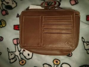 Pouchee Hand Bag Purse Organizer Insert Leather Brown, excellent condition