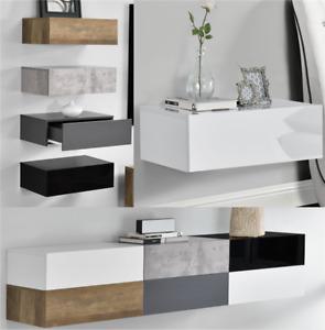 [en.casa]® Kommode Nachttisch Wandregal TV Lowboard Wand Schublade Sideboard