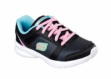 GIRLS SKECHERS SKECH-STEPZ  SPORTS TRAINING SNEAKER ALL SIZES BLACK TORQUOISE
