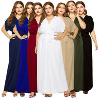 Women Plus Size Maxi Cocktail Evening Party Dress Batwing Sleeve V Neck Dresses