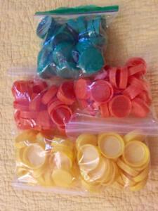 125 Plastic Juice Bottle Caps for Crafts Stamps Art Murals Yellow Green Orange