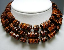 "Vintage Barrell Shape Faux Crocodile / Alligator LUCITE Bead Necklace 35""~Browns"