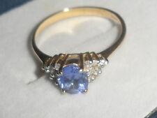 9K GENUINE TANZANITE & DIAMOND YELLOW GOLD RING 0.537CT BEAUTIFUL RING~