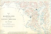 "1900 MAP OF MARYLAND NATURAL RESOURCES 9-1/2"" x 15-1/2"" color print by W B Clark"