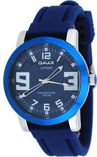Omax Supreme ES538 Men's Silver Tone Blue Dial Silicone Band Watch