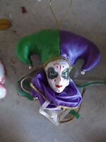 Porcelain Jester Head Wall Hanging Doll LOOK
