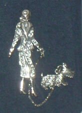 Old Time Lady Walking Dog Brooch. Brand New