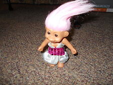 """8"""" Russ Troll Doll w Pink Hair in replacement sparkly dress"""