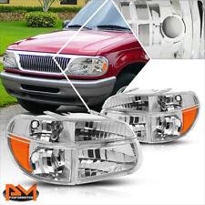 For 95-03 Ford Explorer Chrome Housing Headlight Amber Corner Signal Lamps Pair
