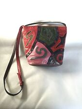 VTG Sharif PATCHWORK Leather Bucket Bag Purse Red Pink Green MADE in USA
