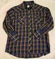 Vintage Wrangler Pearl Snap Long Sleeve Button Up Blue Multi Color Mens XL
