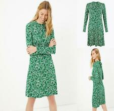 NEW EX MARKS SPENCER UK SIZE 6 - 22 TALL GREEN DITSY FLORAL JERSEY DRESS